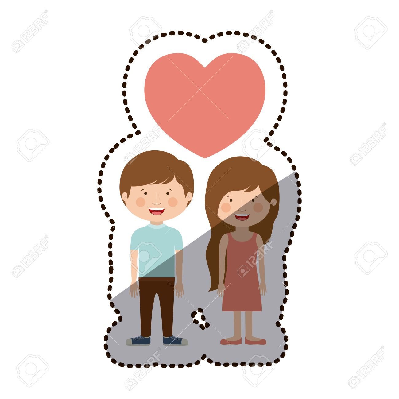 Boy And Girl Cartoon In Love Icon Kid Childhood Little People