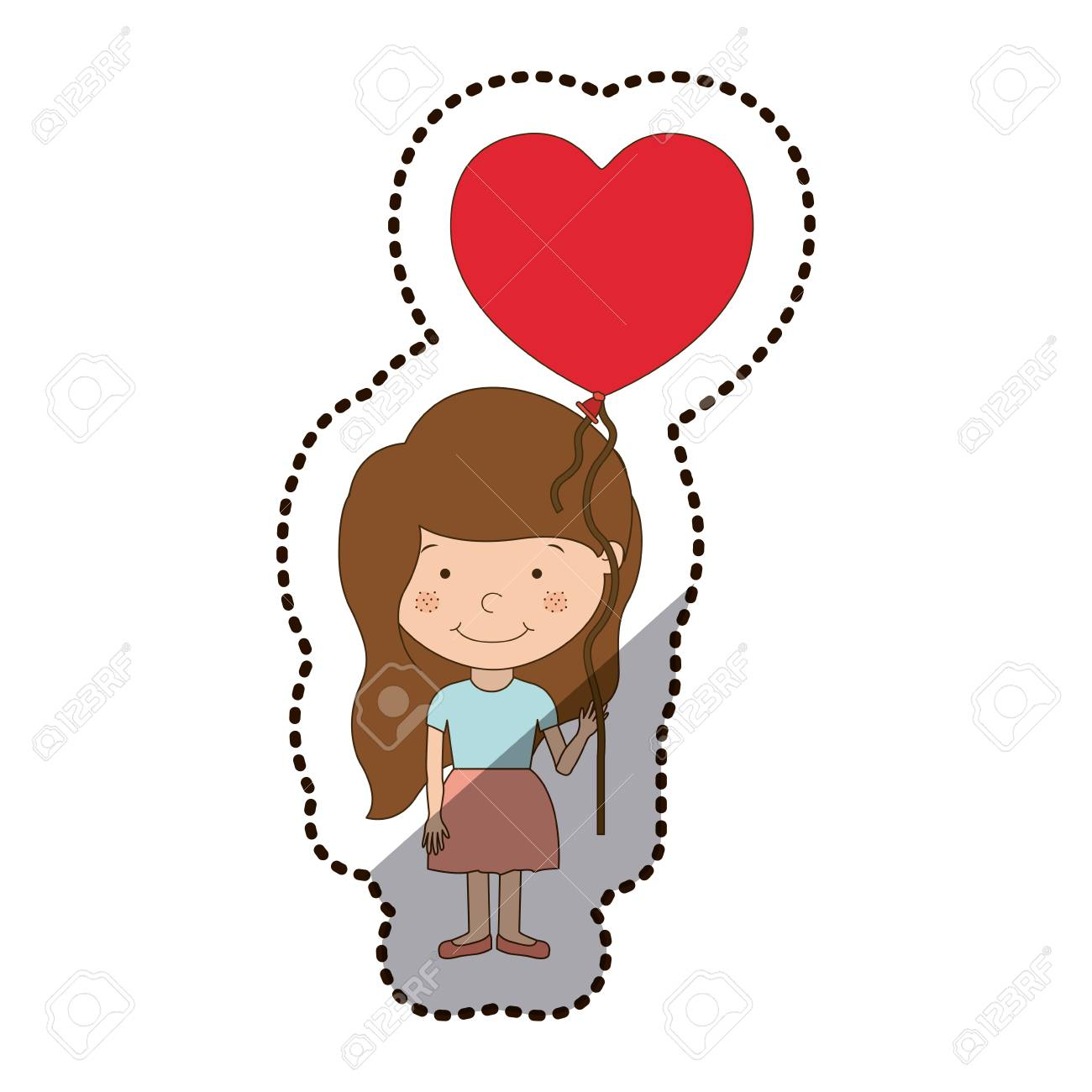 Girl Cartoon With Heart Balloon Icon Kid Childhood Little People