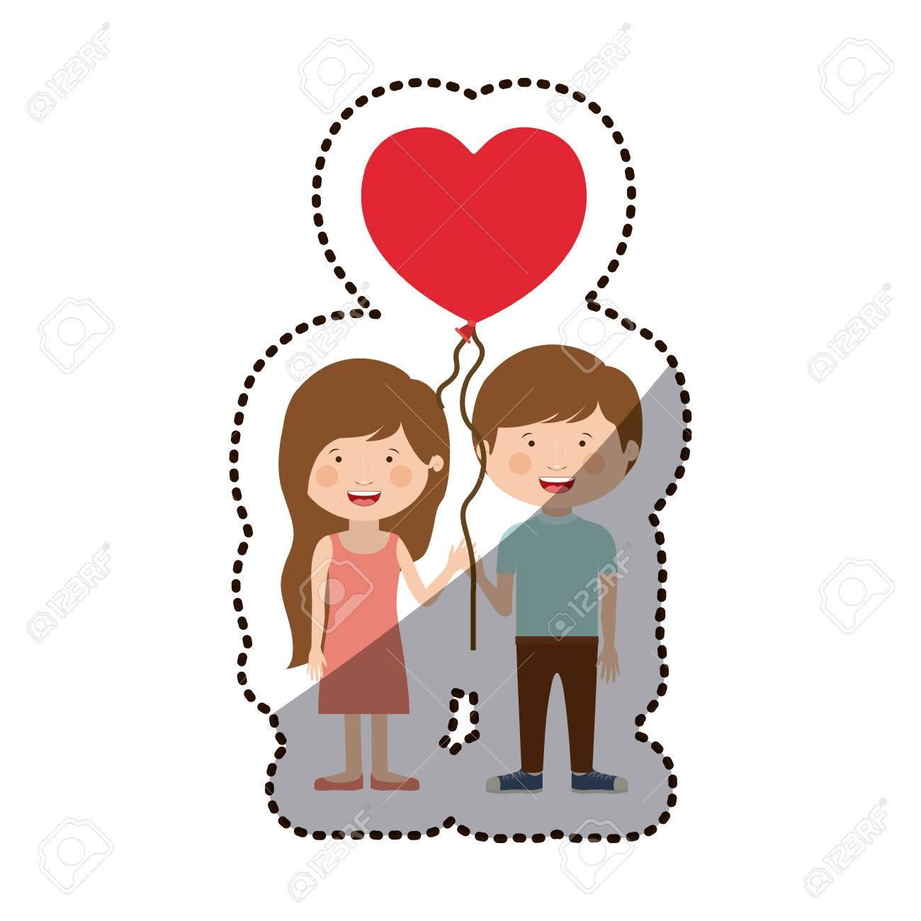 Boy And Girl Cartoon With Heart Balloon Icon Kid Childhood Little