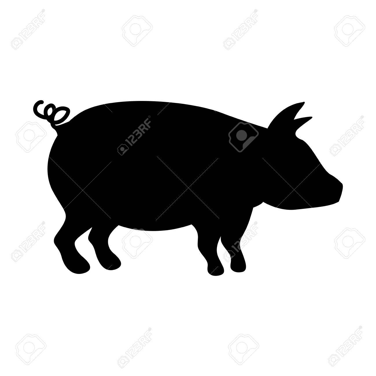 豚ベクトル イラスト シルエット モノクロ カラーのイラスト素材ベクタ