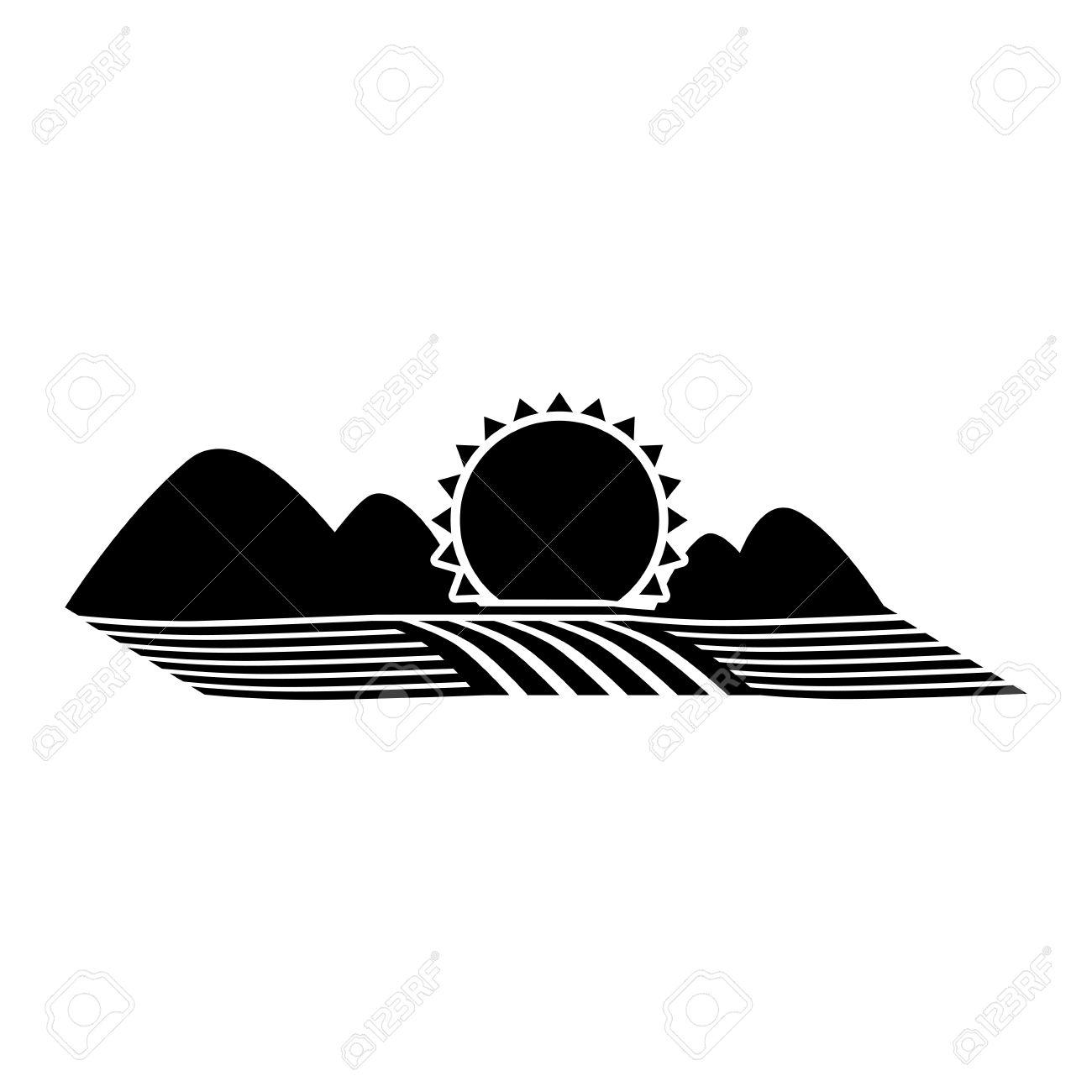 山と太陽のベクトル図と播種シルエット モノクロ