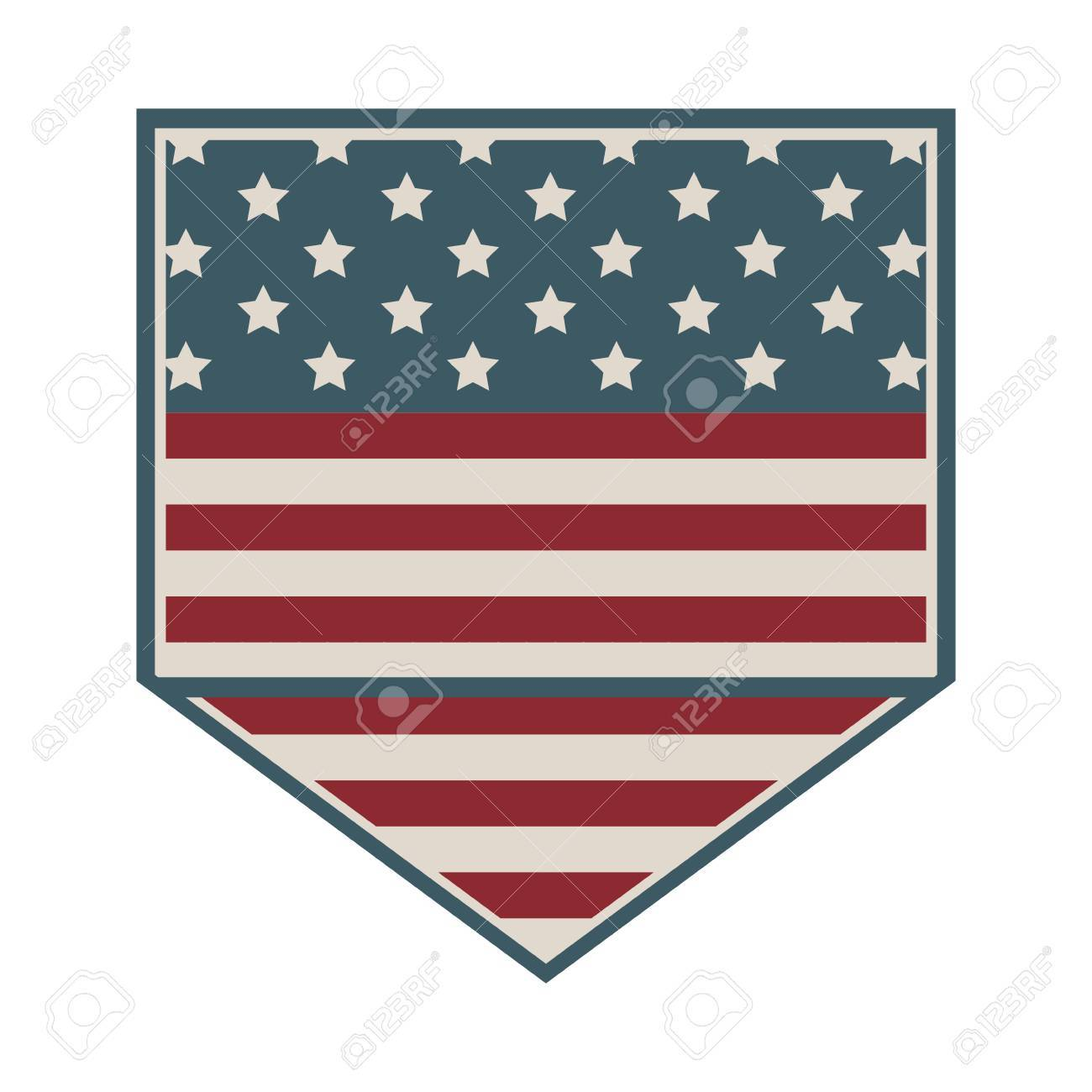 square shape of shield with american flag icon vector illustration - 68428959