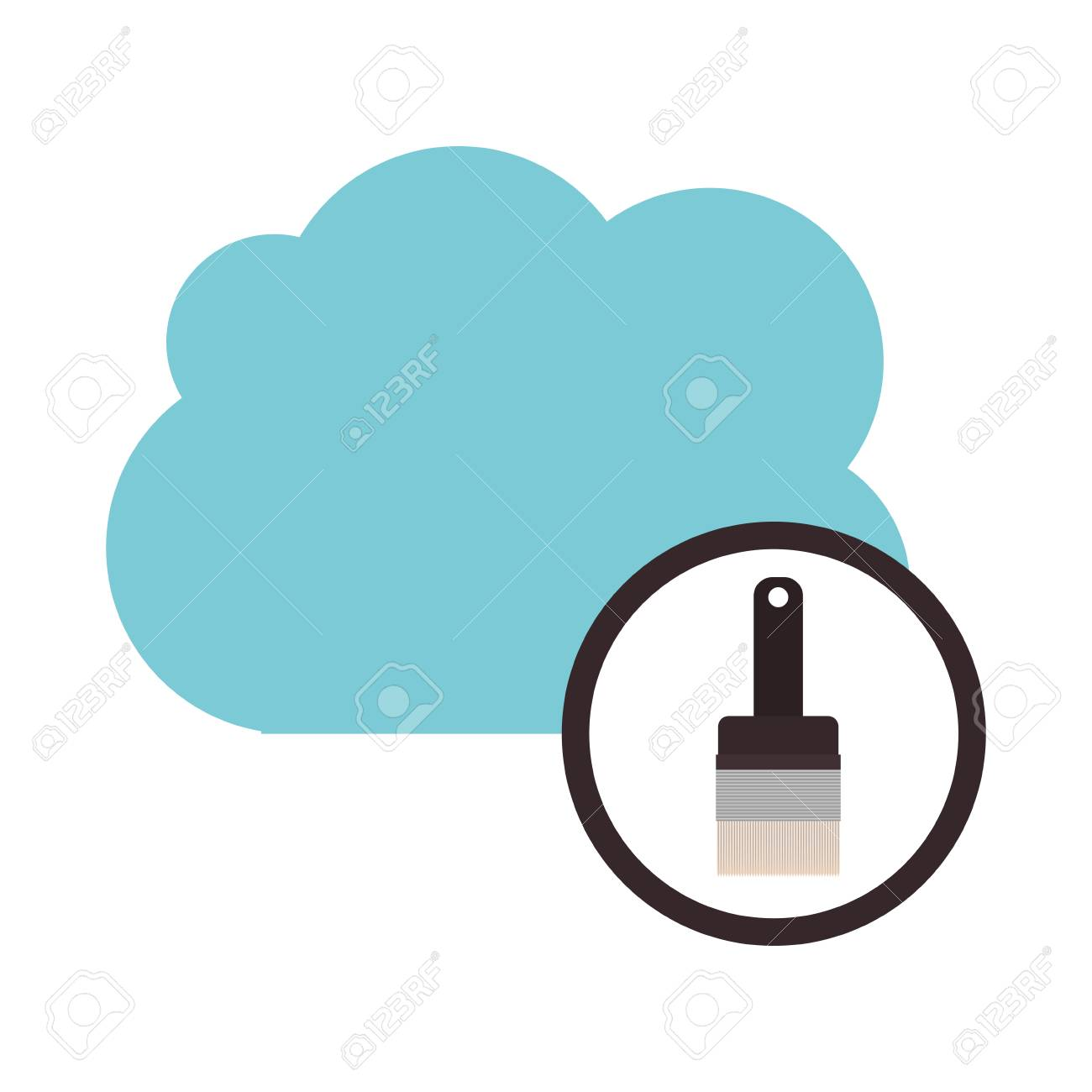 paint brush and cloud computing icon storage technology and
