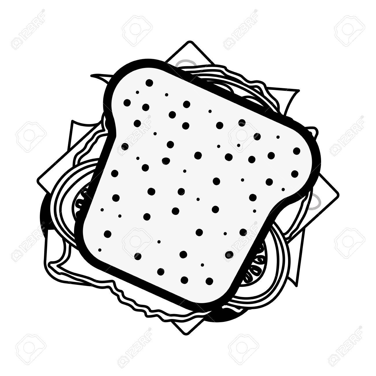 Sandwich Clipart Black And White