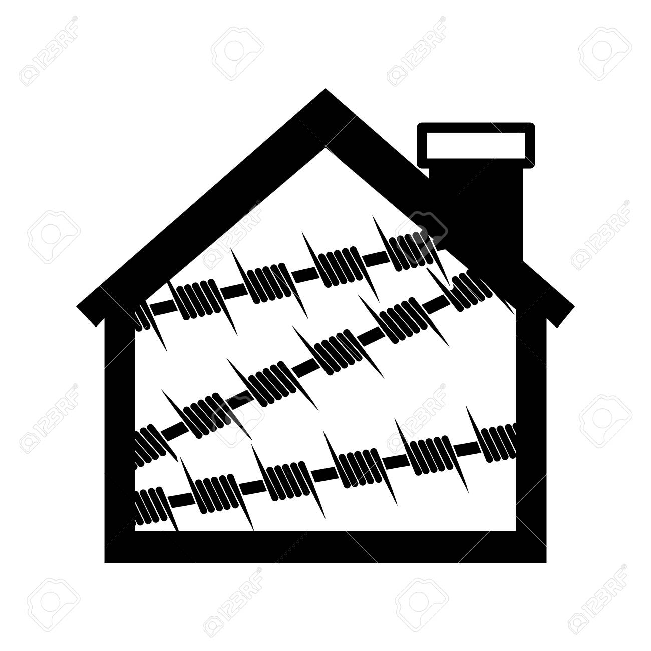 silhouette house one floor with metallic barbed wire icon vector Frame Clip Art silhouette house one floor with metallic barbed wire icon vector illustration stock vector 67135670