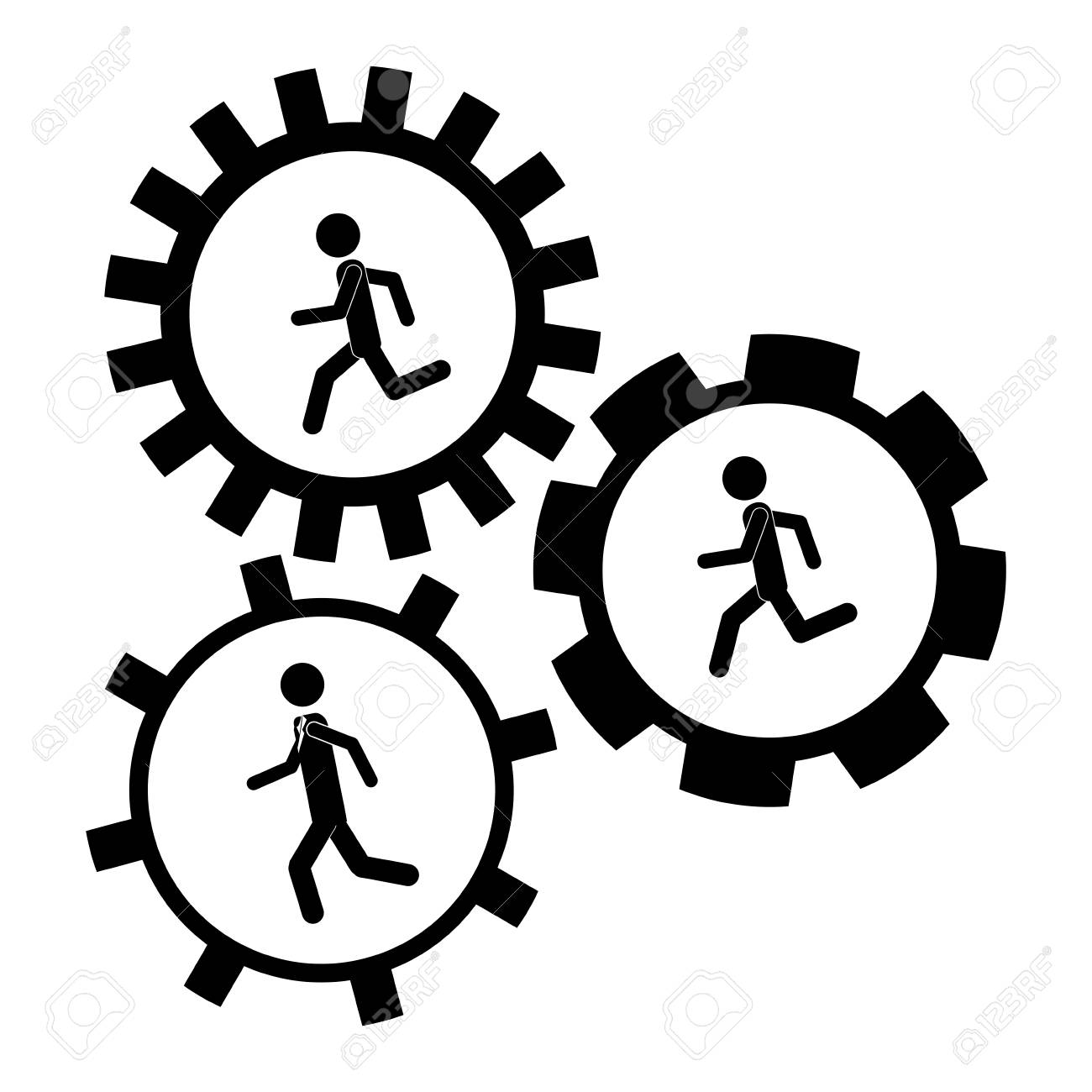 gear and businessperson icon teamwork people corporate and