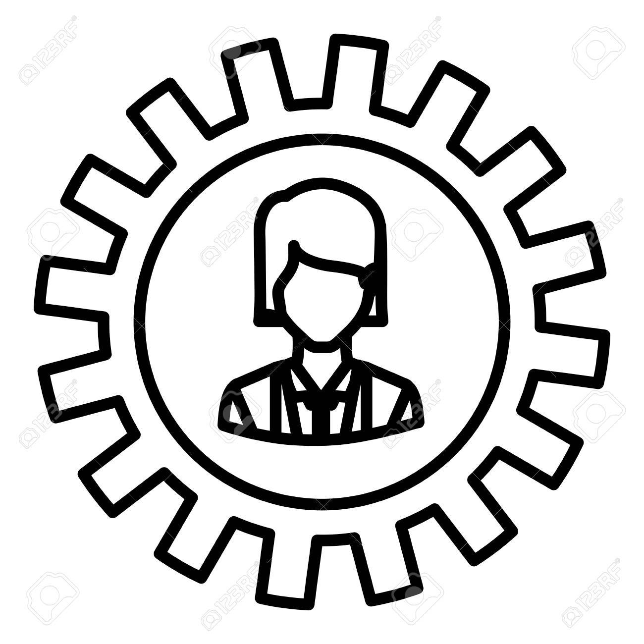 gear and businesswoman icon teamwork people corporate and workforce