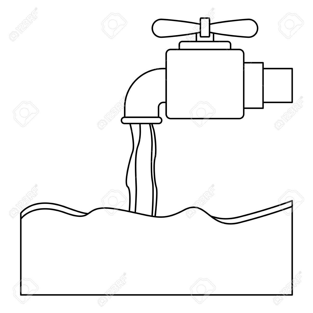 Tap-Symbol. Hahn Ökologie Wasser Trinken Flüssigkeit Und Getränke ...