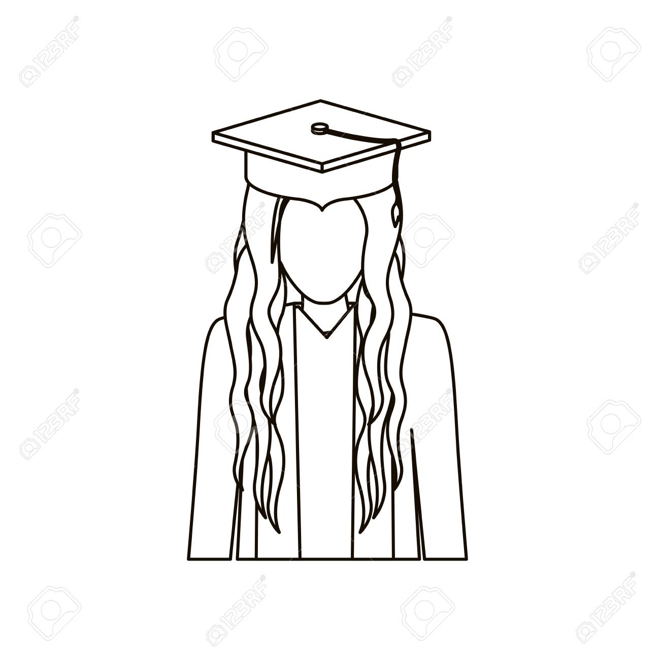 Girl with graduation cap icon  University education and school