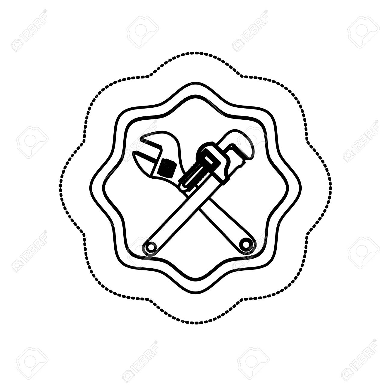 Monochrome Silhouette Sticker With Frame With Crossed Wrenches