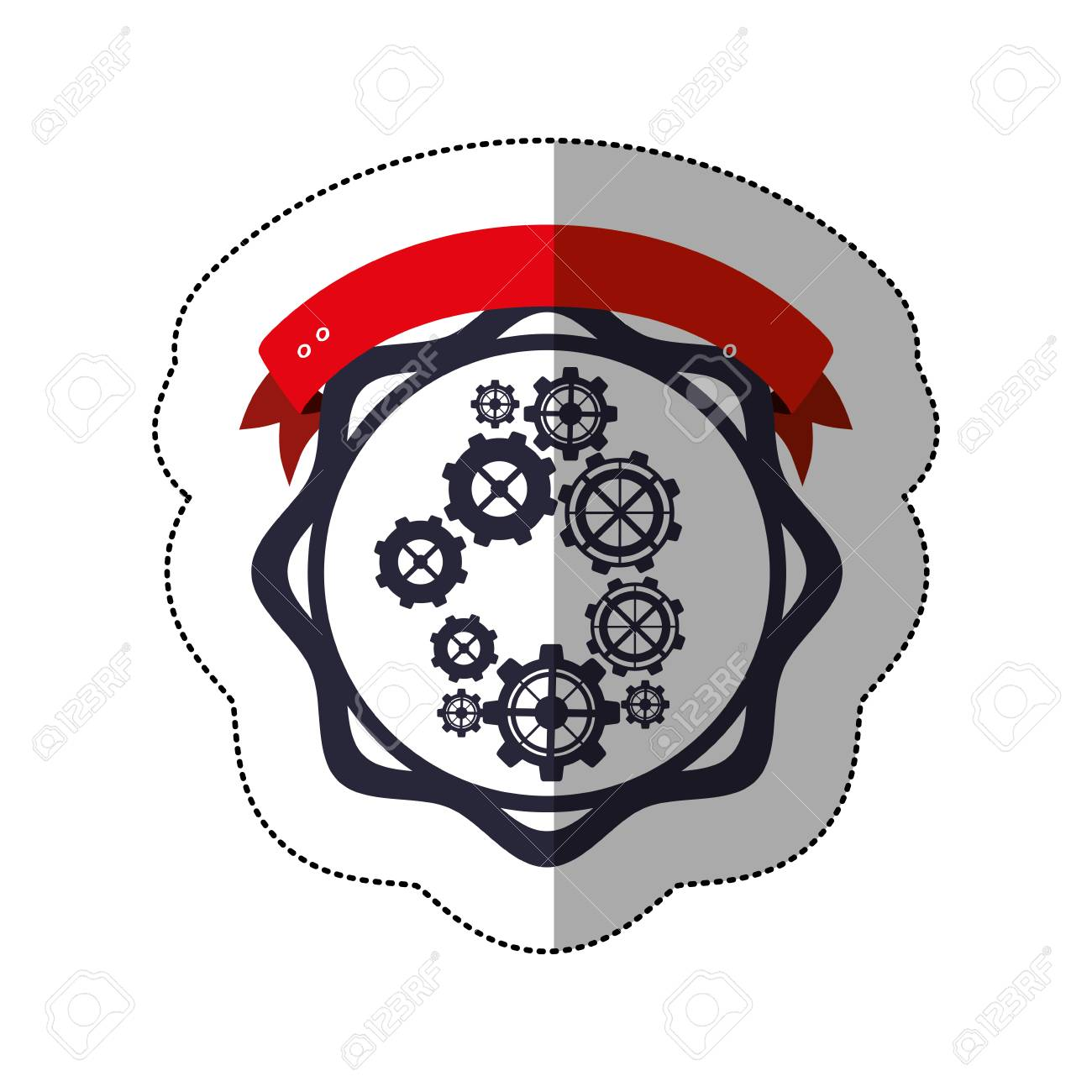 middle shadow sticker with gear wheel between circular shapes