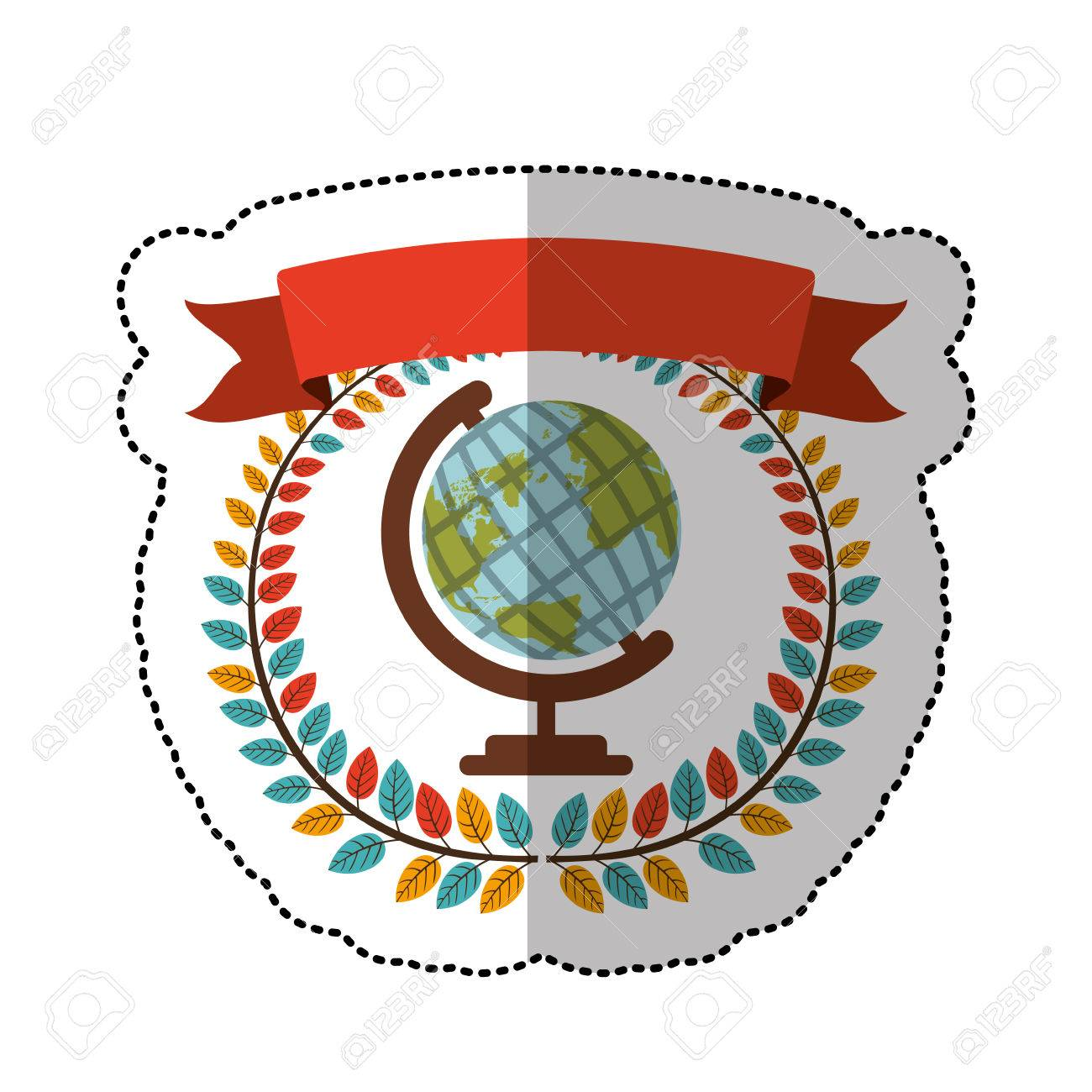 Middle shadow sticker with colorful olive crown with ribbon and middle shadow sticker with colorful olive crown with ribbon and earth world map vector illustration stock gumiabroncs Images