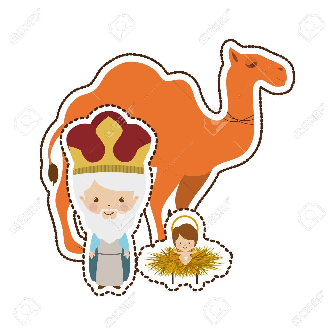 Tres Reyes Magos Ilustración Del Vector Del Icono Del Diseño Gráfico