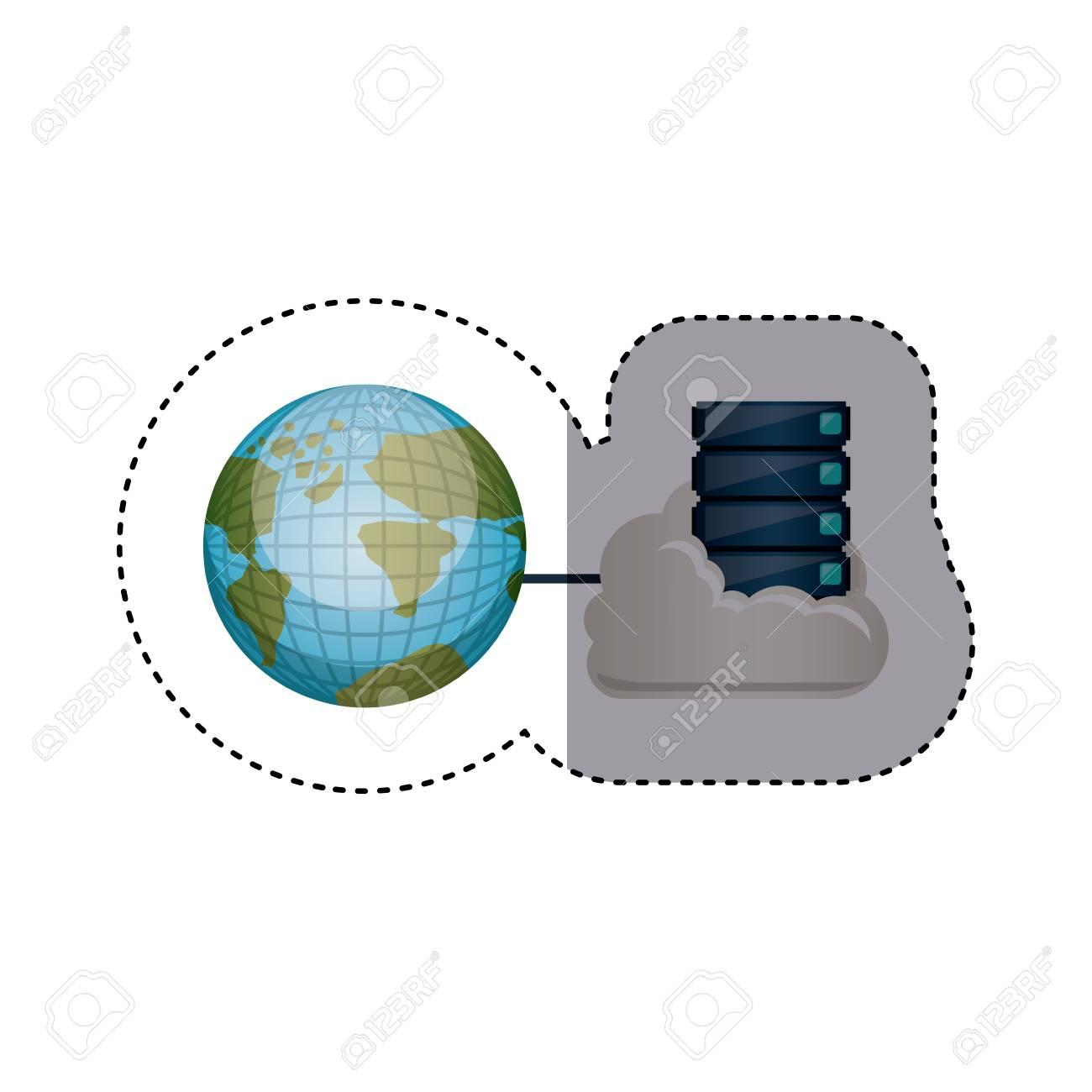 Sticker with file cabinet into the cloud and earth world map sticker with file cabinet into the cloud and earth world map vector illustration stock vector gumiabroncs Images