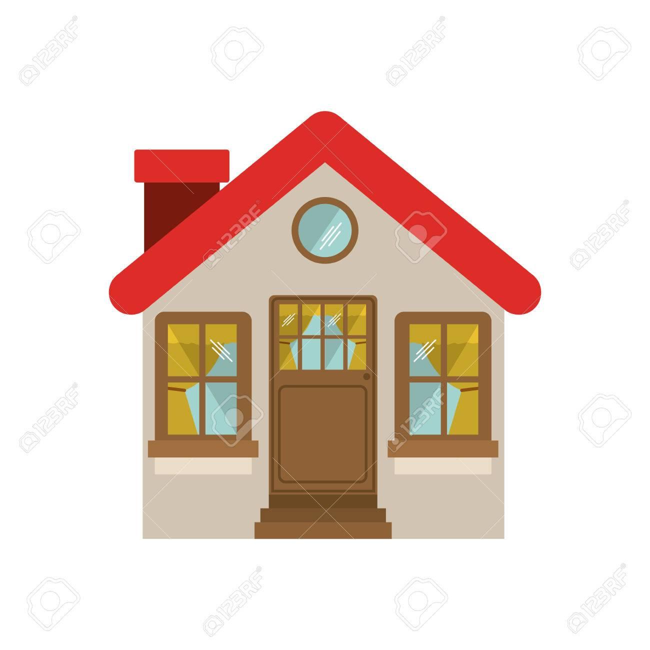facade confortable house with chimney vector illustration royalty rh 123rf com home vector house vector art