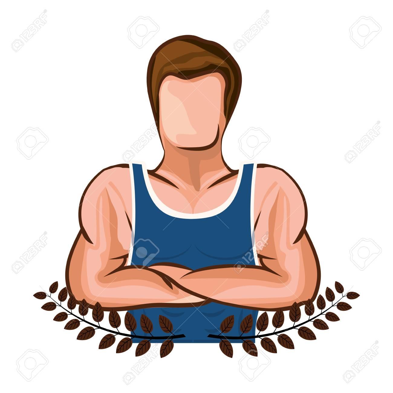 Kronenblätter Mit Mann Halbkörper Muskel Mit Gekreuzten Armen Vektor ...