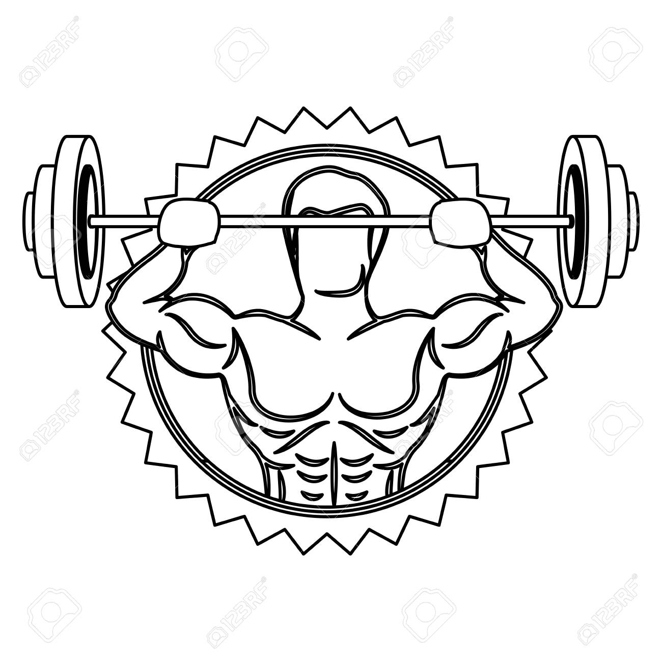 Contour Stamp Border With Muscle Man Lifting A Disc Weights Vector Illustration Stock