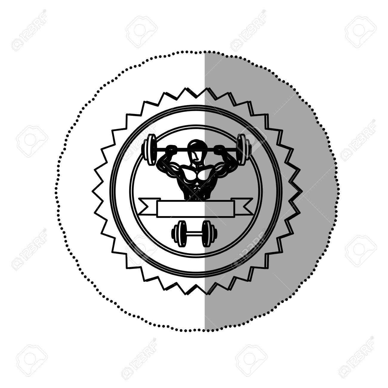 Sticker Contour Stamp Border With Muscle Man Lifting A Disc Weights And Label Dumbbell Vector