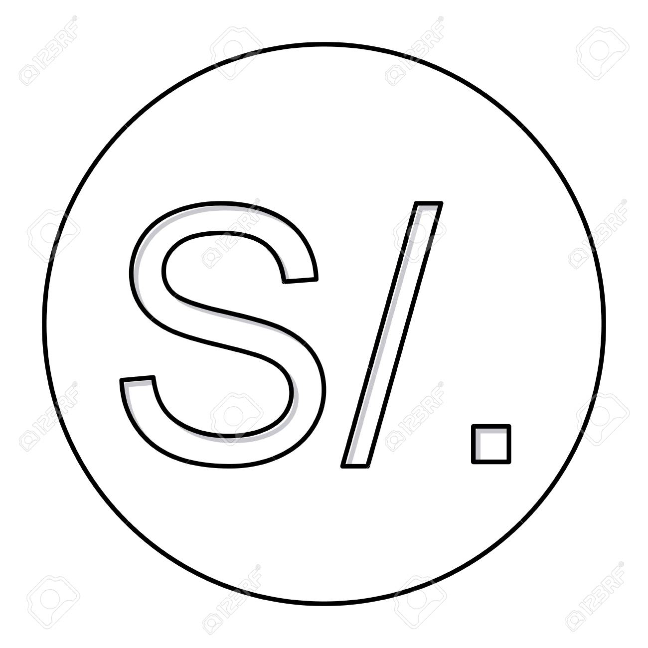 Monochrome contour with currency symbol of sol peru in circle monochrome contour with currency symbol of sol peru in circle vector illustration stock vector 70587346 buycottarizona Images