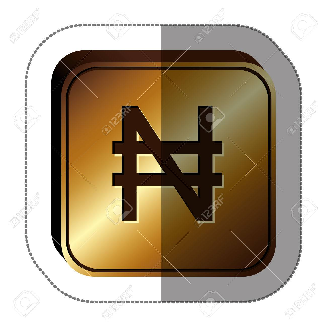 Sticker golden square with currency symbol of nigerian naira sticker golden square with currency symbol of nigerian naira vector illustration stock vector 70587358 buycottarizona Images