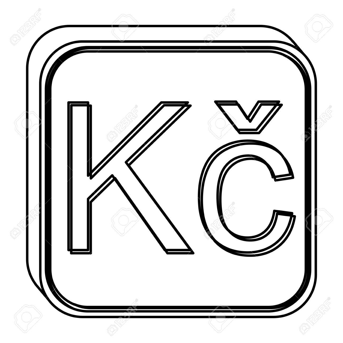 Monochrome Square Contour With Currency Symbol Of Czech Koruna