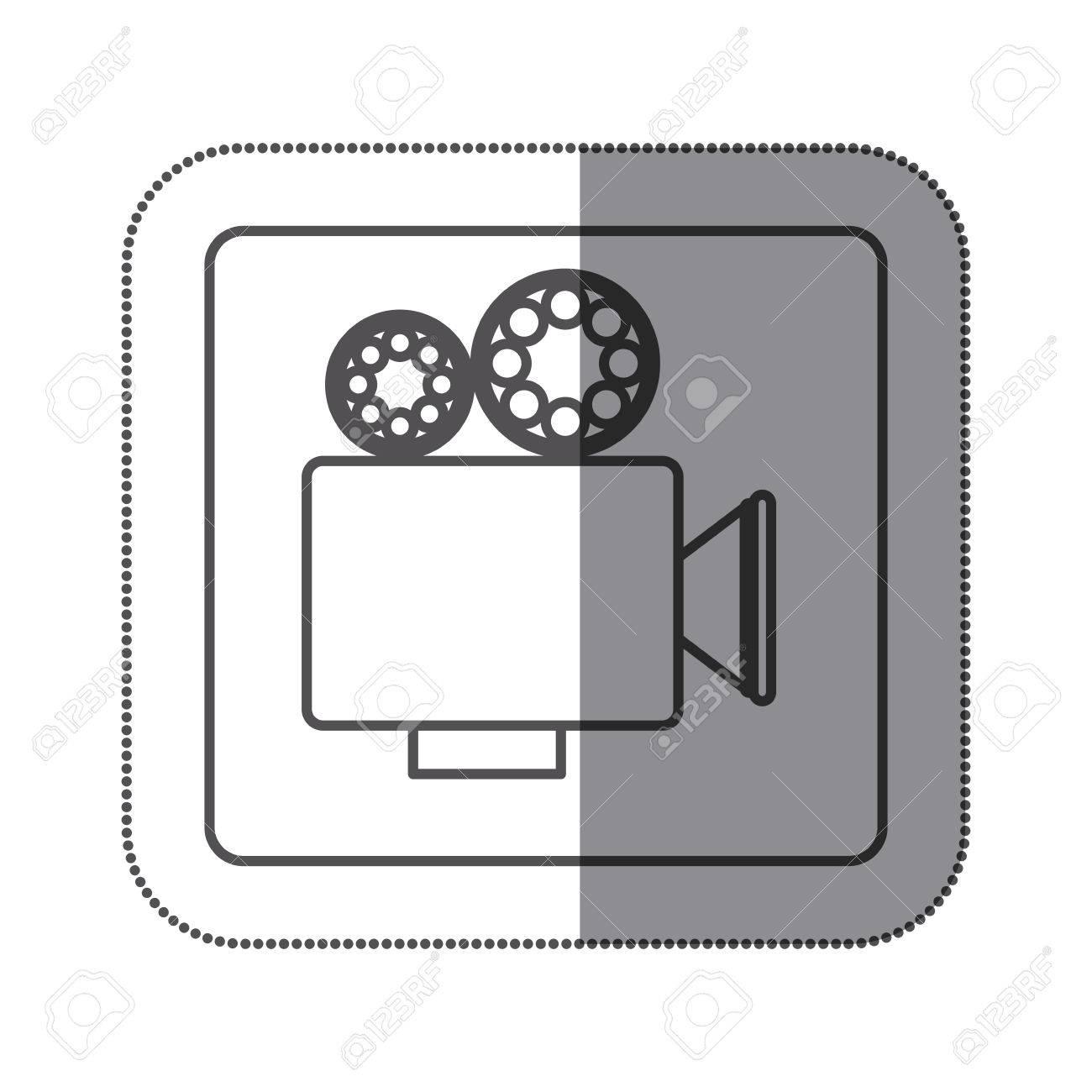 Sticker Silhouette Square Shape With Retro Movie Projector Vector ...