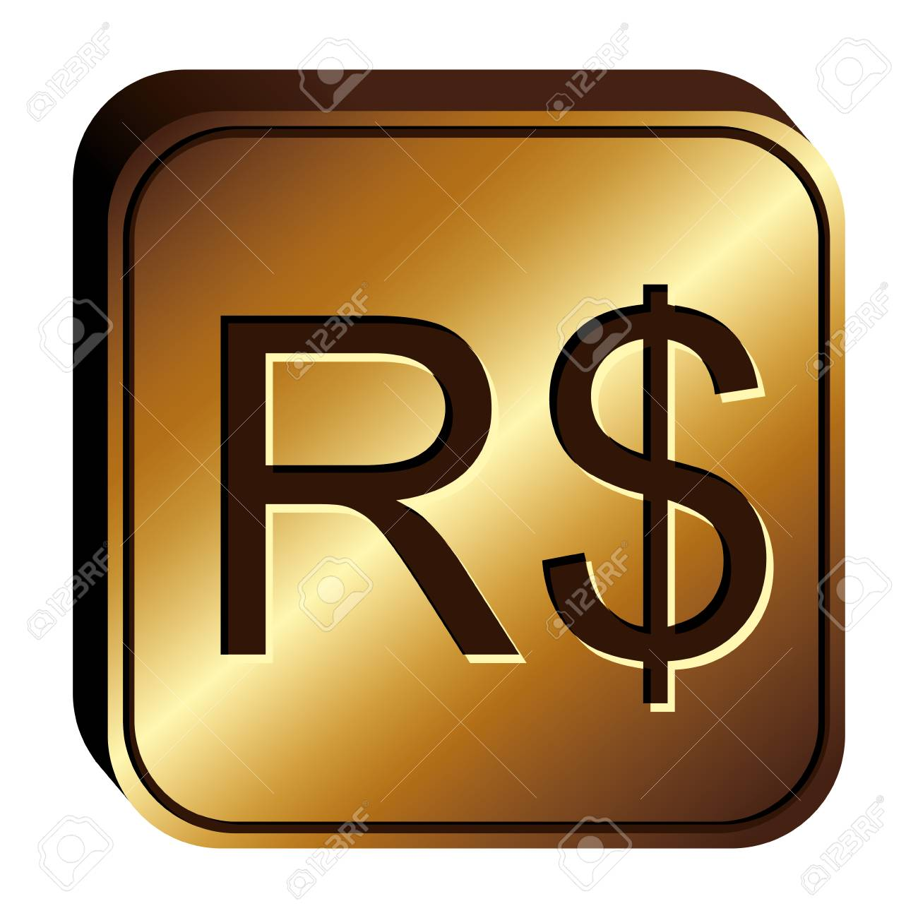 Real Brazil Currency Symbol Icon Image Vector Illustration Royalty