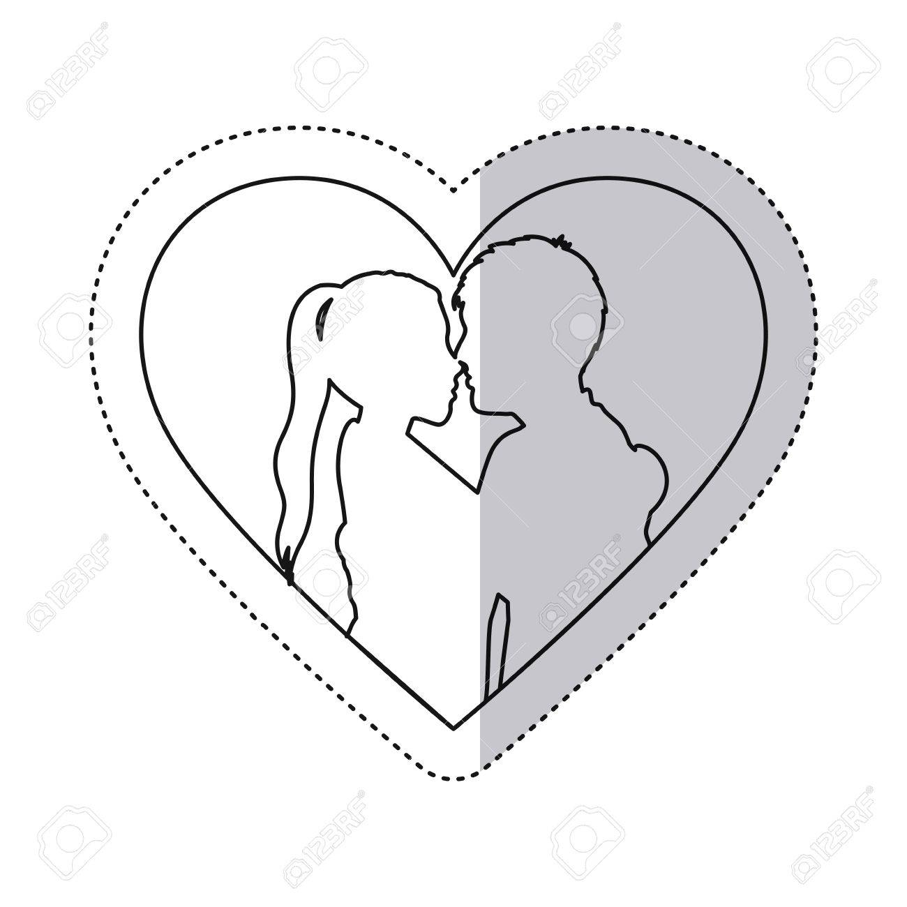 Sticker Monochrome Contour With Heart Frame And Half Body Couple ... for Couple Sticker Line  575lpg