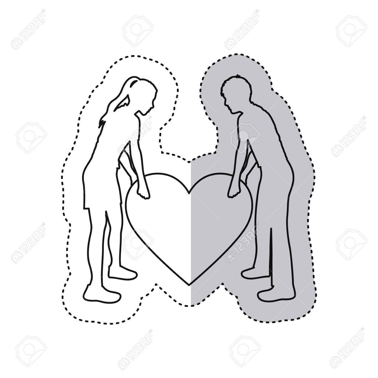 Sticker Monochrome Contour With Couple Holding A Big Heart Vector ... for Couple Sticker Line  67qdu