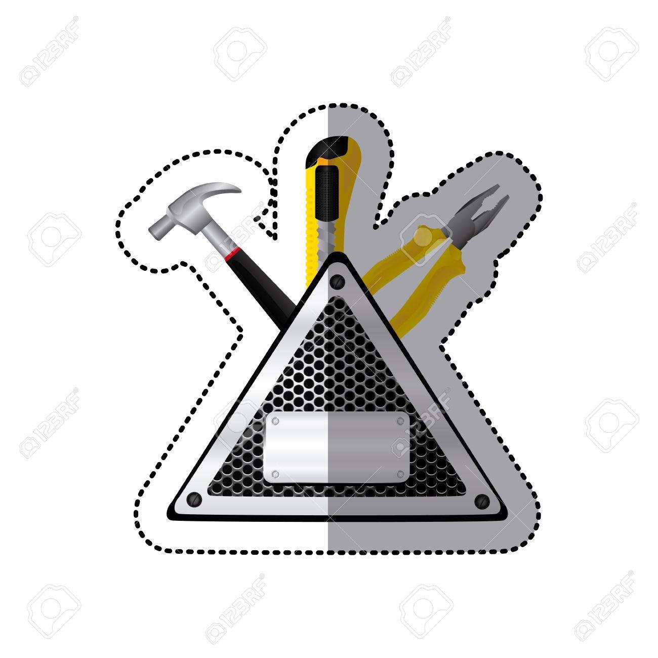 Pegatina Triángulo Metálico Marco Con Parrilla Perforada Y ...