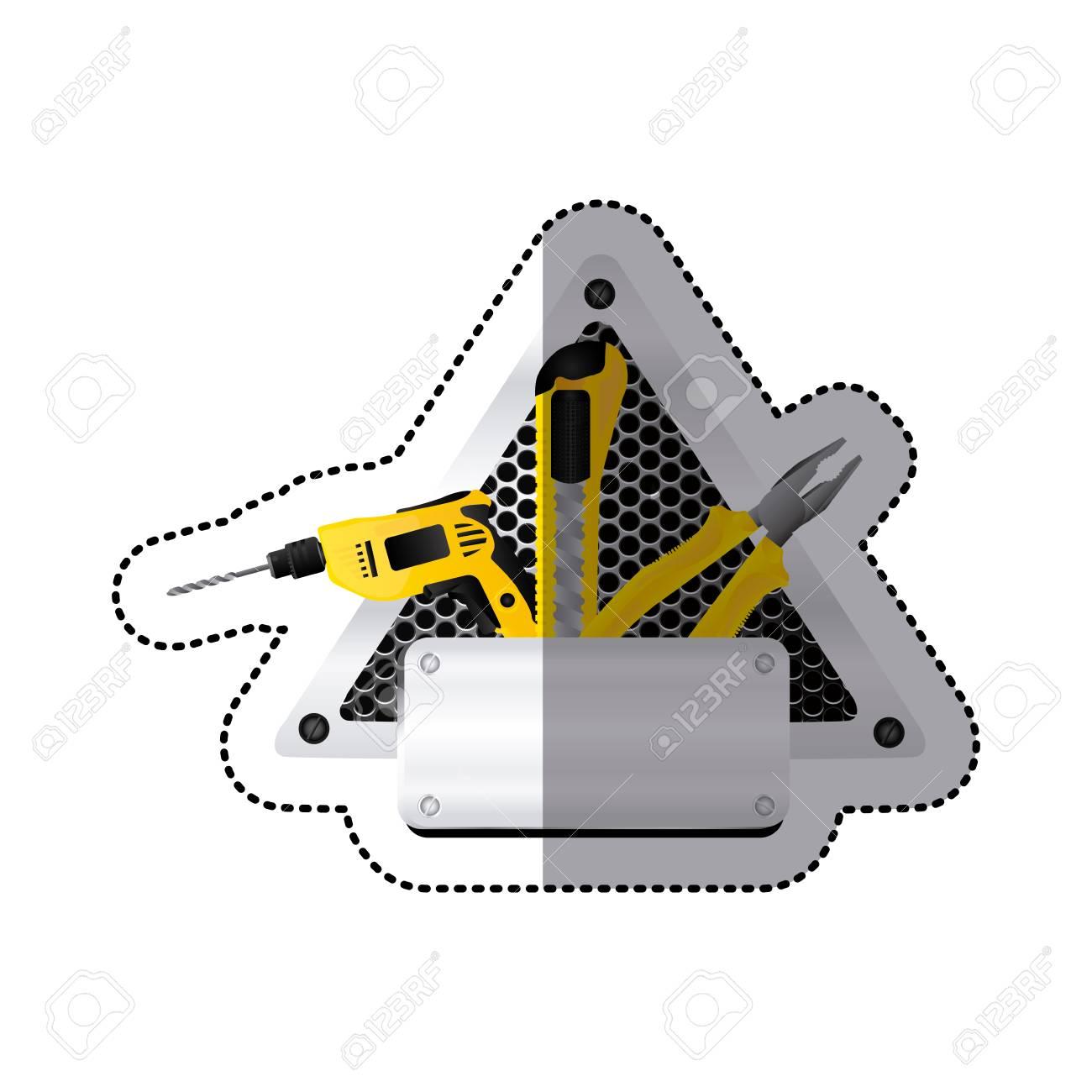 Parrilla De La Etiqueta Perforada Triángulo Marco Con Placa De Metal ...