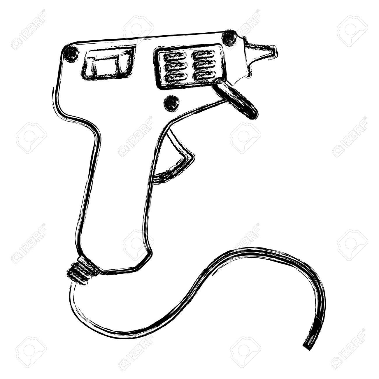 blurred silhouette electric glue gun icon tool vector illustration