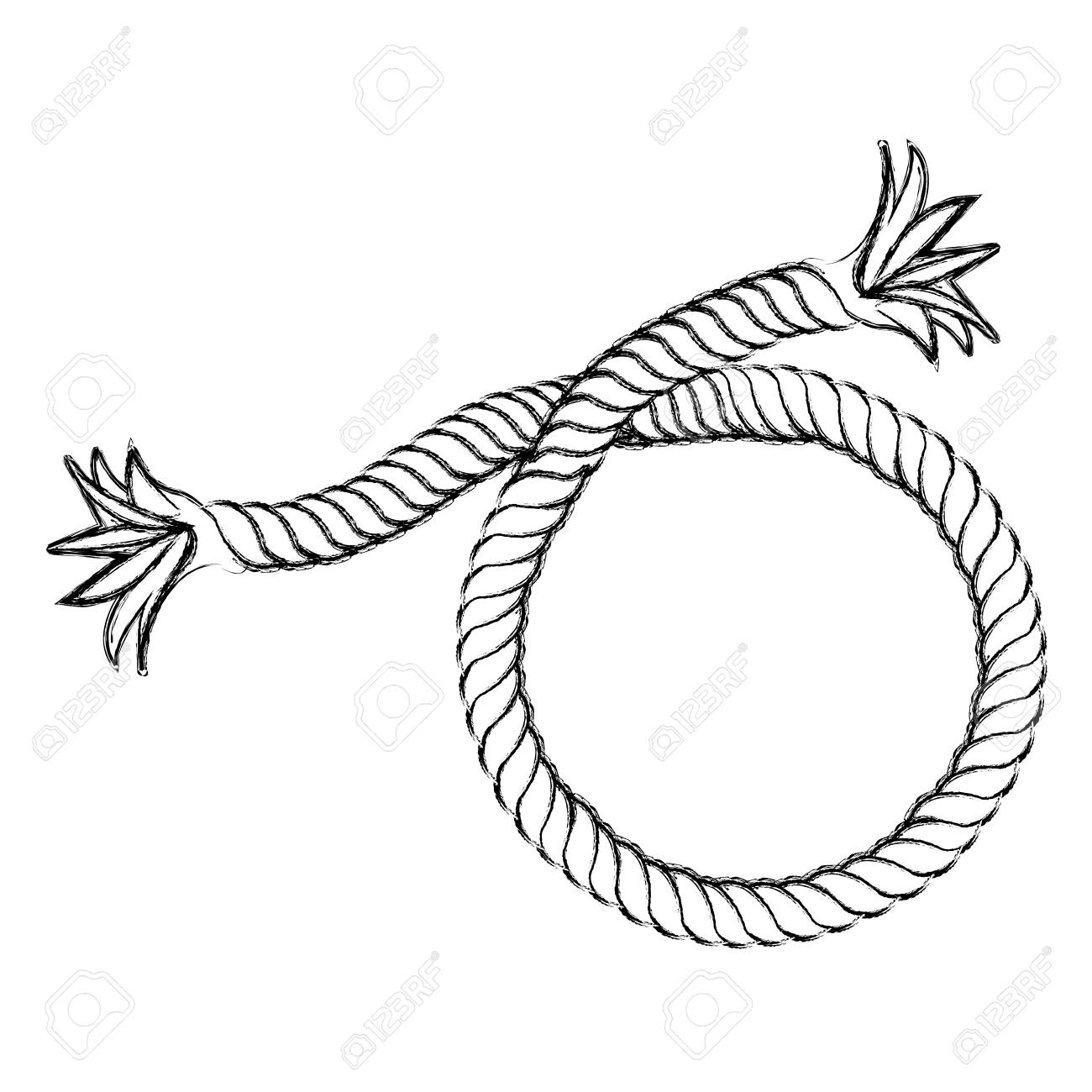 monochrome contour hand drawing of nautical break rope vector rh 123rf com rope vector png rope vector brush