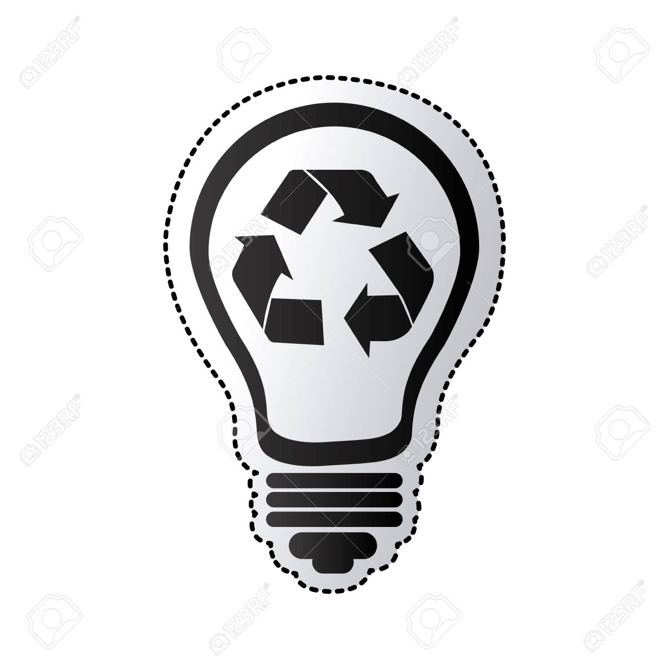 Black Silhouette Sticker With Light Bulb With Recycling Symbol ...