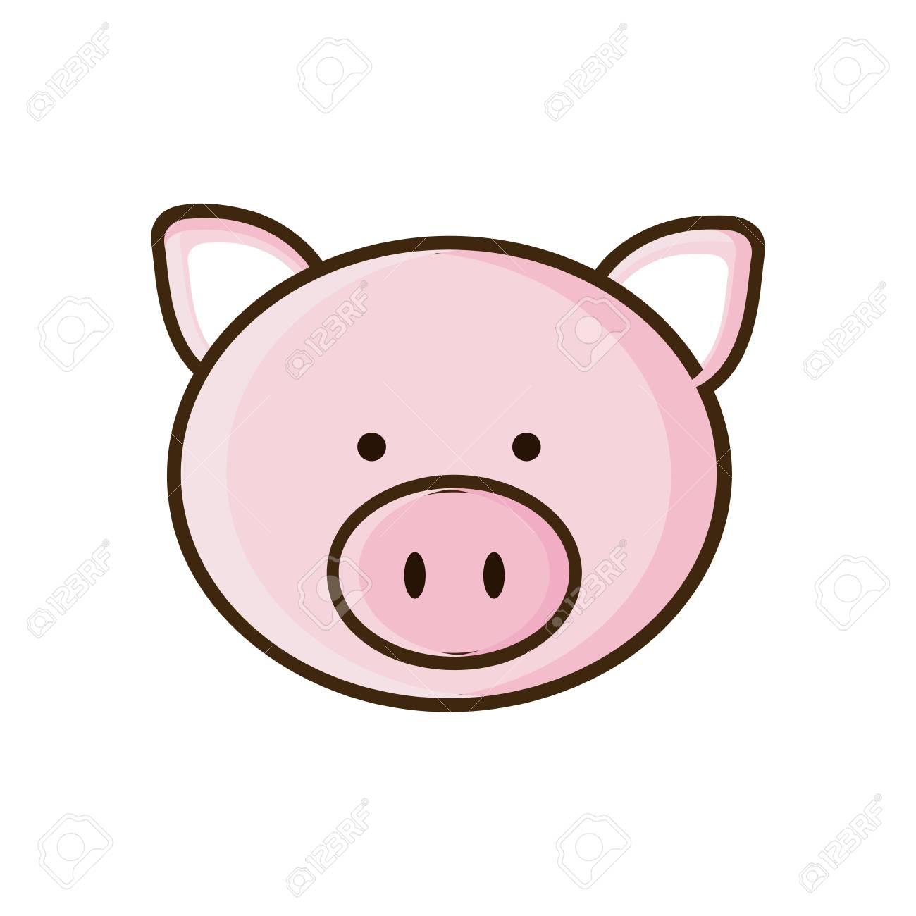 Imagen Colorida Cara Ilustración De Vector De Animal Lindo Cerdo ...