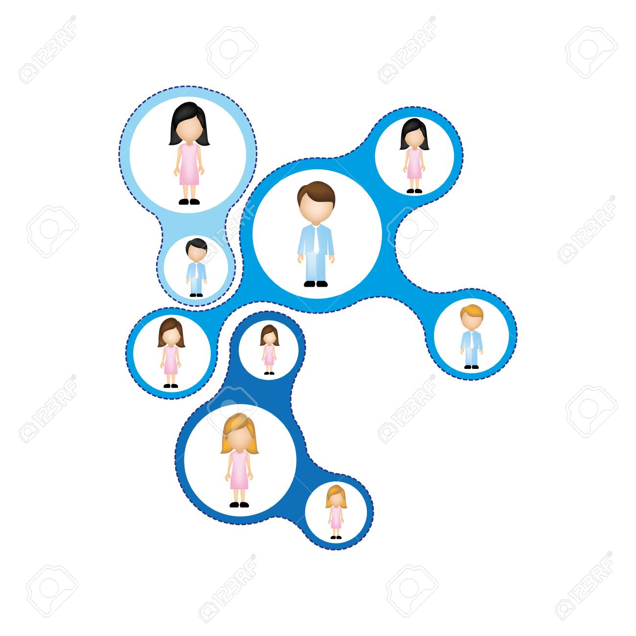 Color Schematic Figure With Faceless Working Group Vector ...