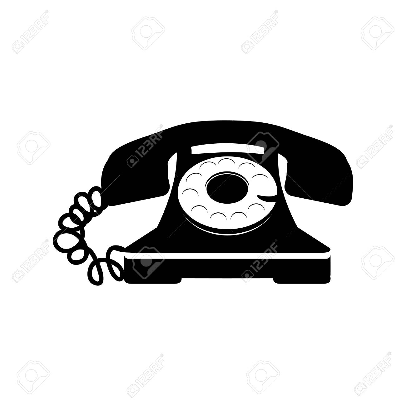 sticker black telephone icon vector illustraction design image