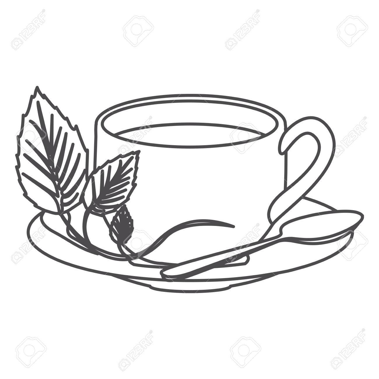 grayscale contour of hot cup of tea vector illustration royalty free cliparts vectors and stock illustration image 72800012 grayscale contour of hot cup of tea vector illustration