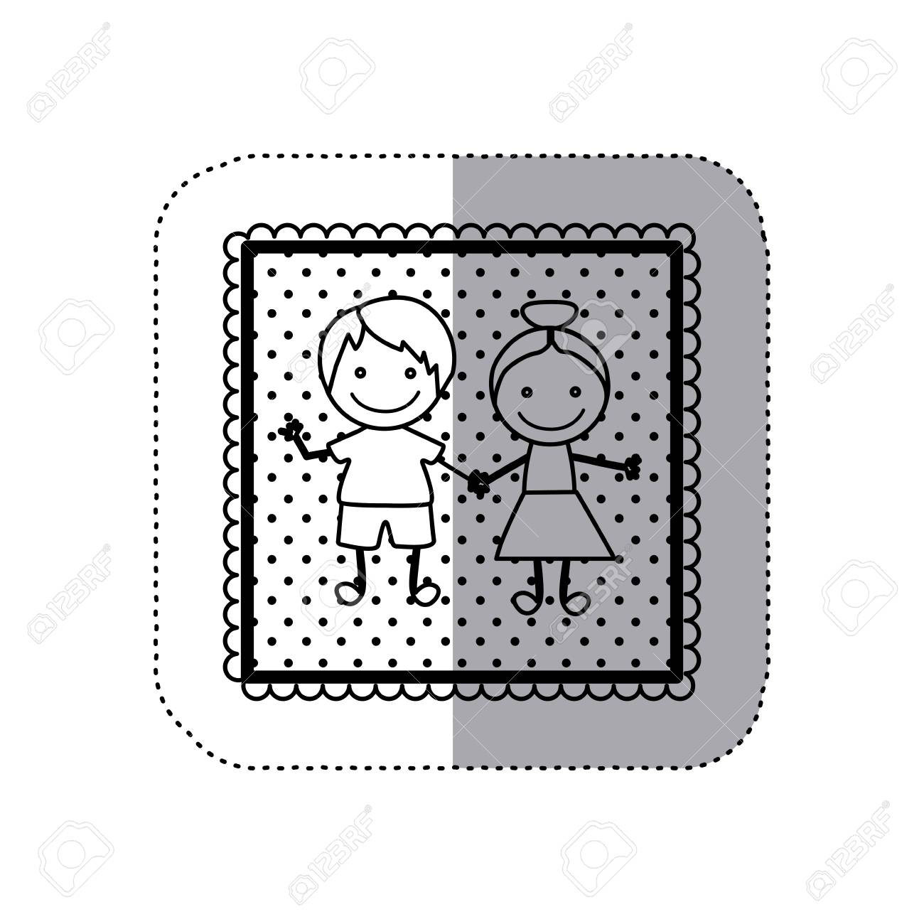 Schwarz-Weiß-Aufkleber In Quadratischen Rahmen Und übersät Mit Hand ...