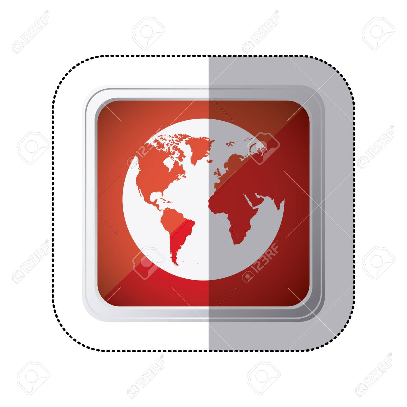 Sticker red square button with silhouette globe earth world map sticker red square button with silhouette globe earth world map vector illustration stock vector 72907667 gumiabroncs Images