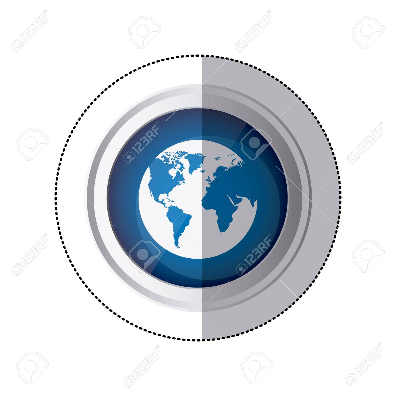 Sticker blue circular button with silhouette globe earth world sticker blue circular button with silhouette globe earth world map vector illustration stock vector 72908705 gumiabroncs Images