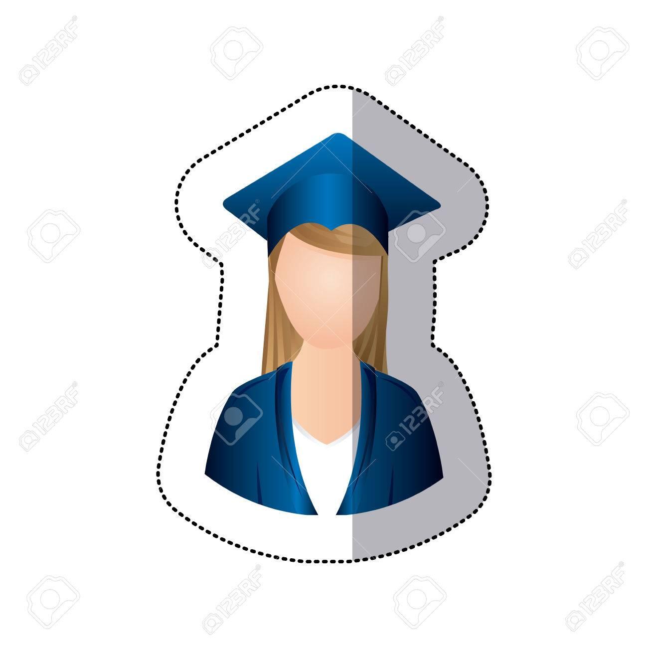 df1bded47 Foto de archivo - Pegatina colorido medio cuerpo mujer con ilustración de  vector de atuendo de graduación