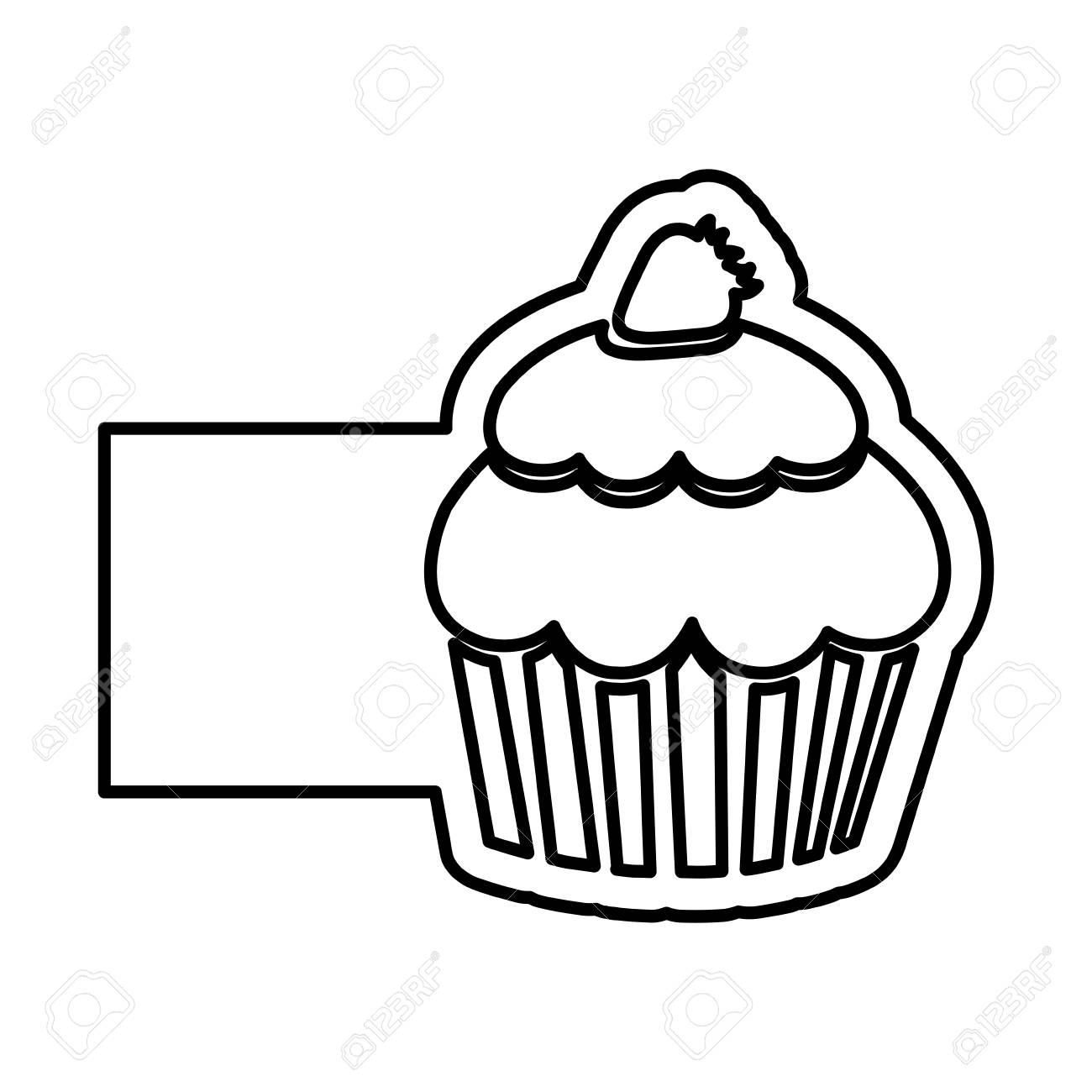 カップケーキ イチゴとバナーの白黒輪郭ベクトル イラストのイラスト素材