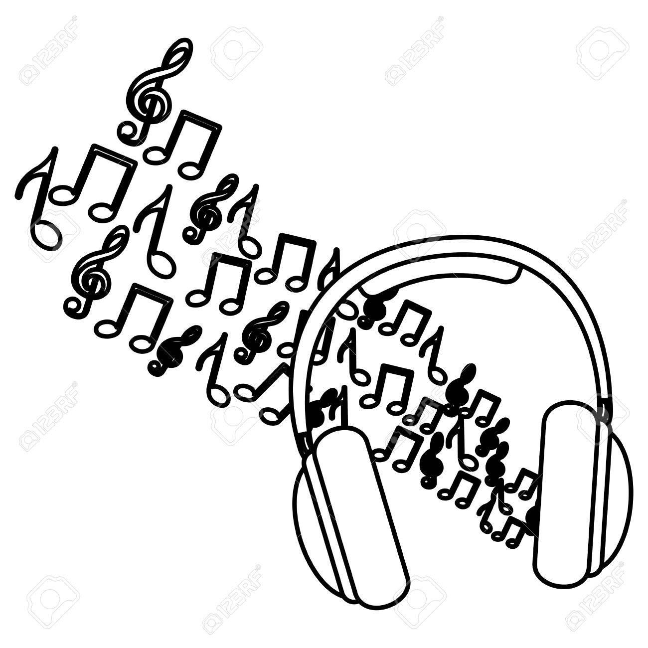 Auriculares Silueta Con Ilustración De Vector De Notas Musicales