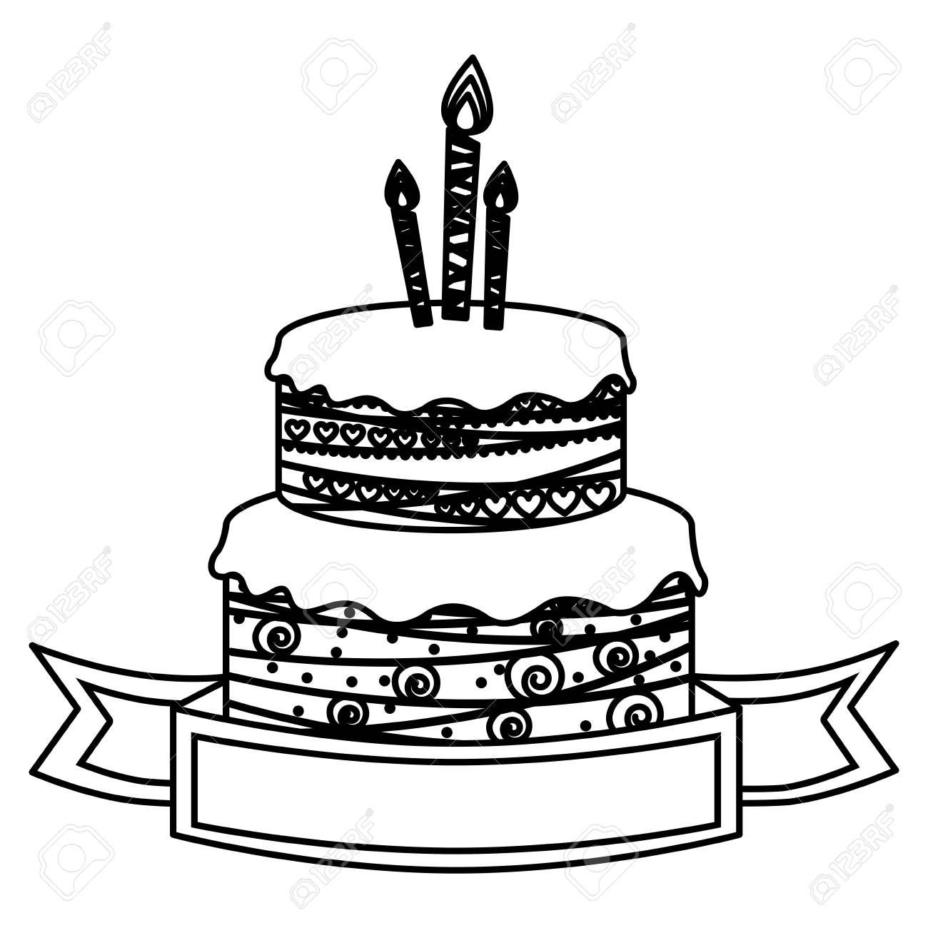 Sketch Silhouette Birthday Cake Two Floors With Candles And Ribbon Vector Illustration Stock