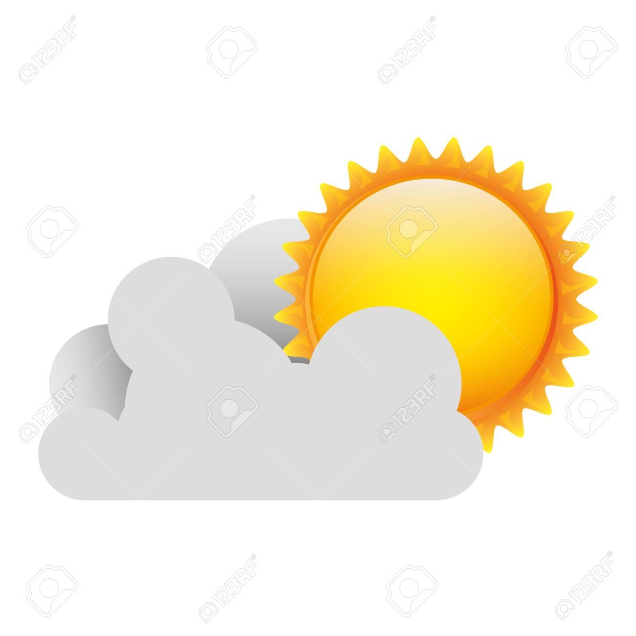 Nuage Blanc Avec L Icone Du Soleil Image De Dessin Vectoriel