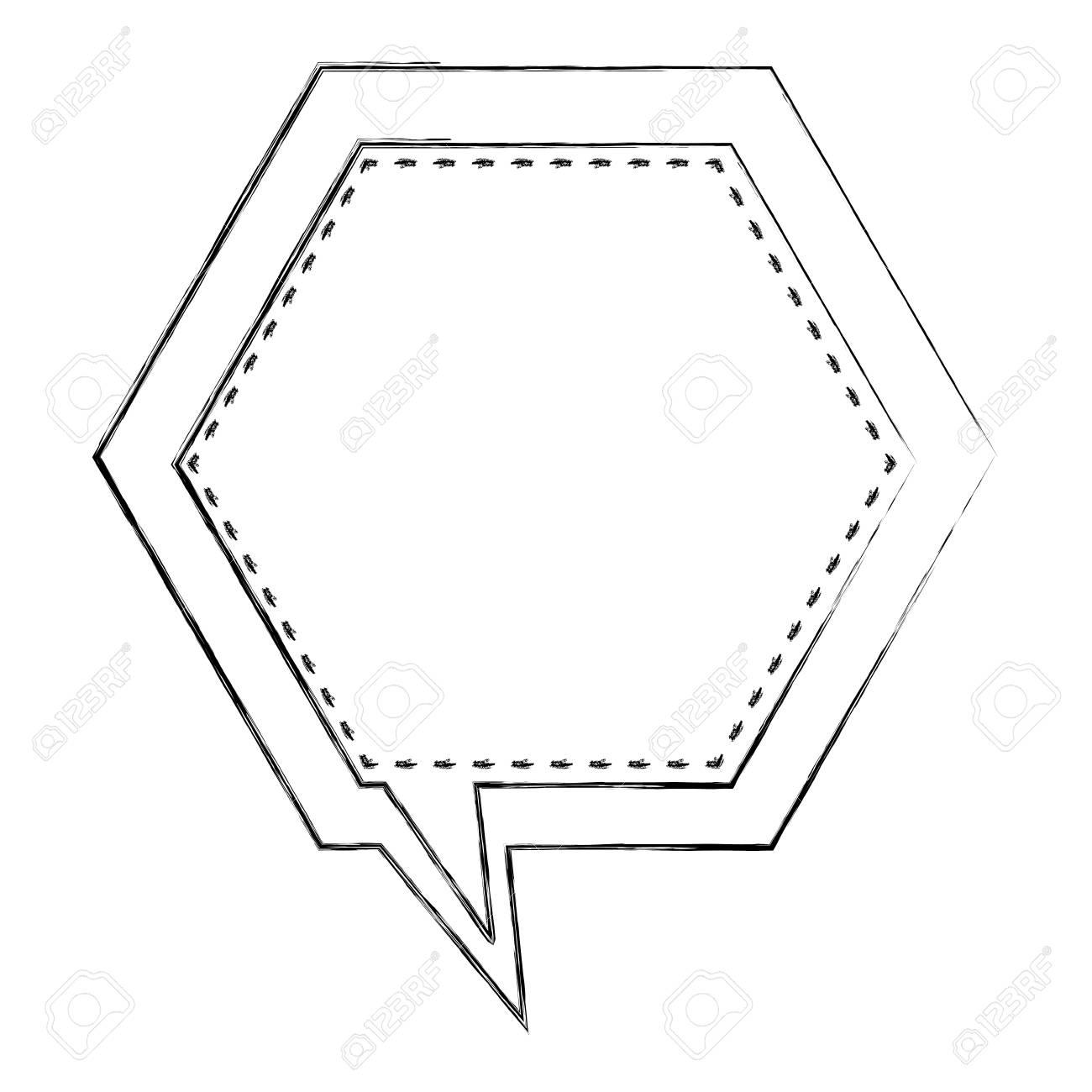 Monochrome Blurred Contour Of Hexagon Frame Callout Dialogue ...