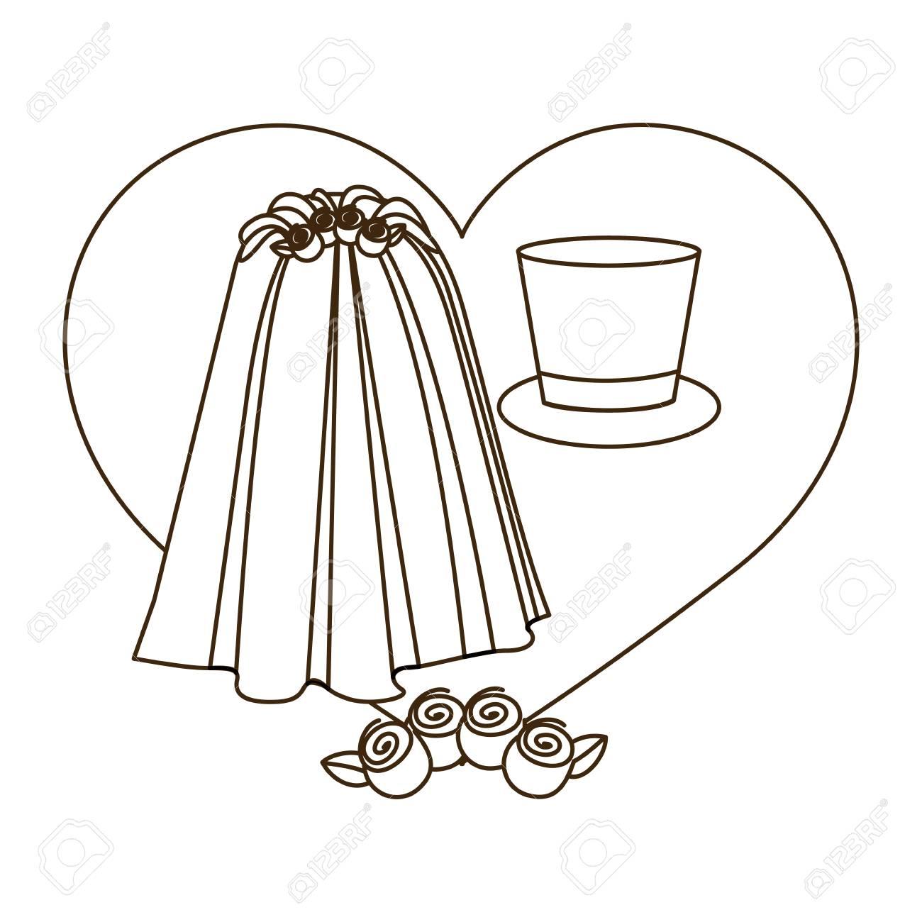 シルエット ハート衣装ベール花嫁帽子新郎ベクトル イラストのイラスト