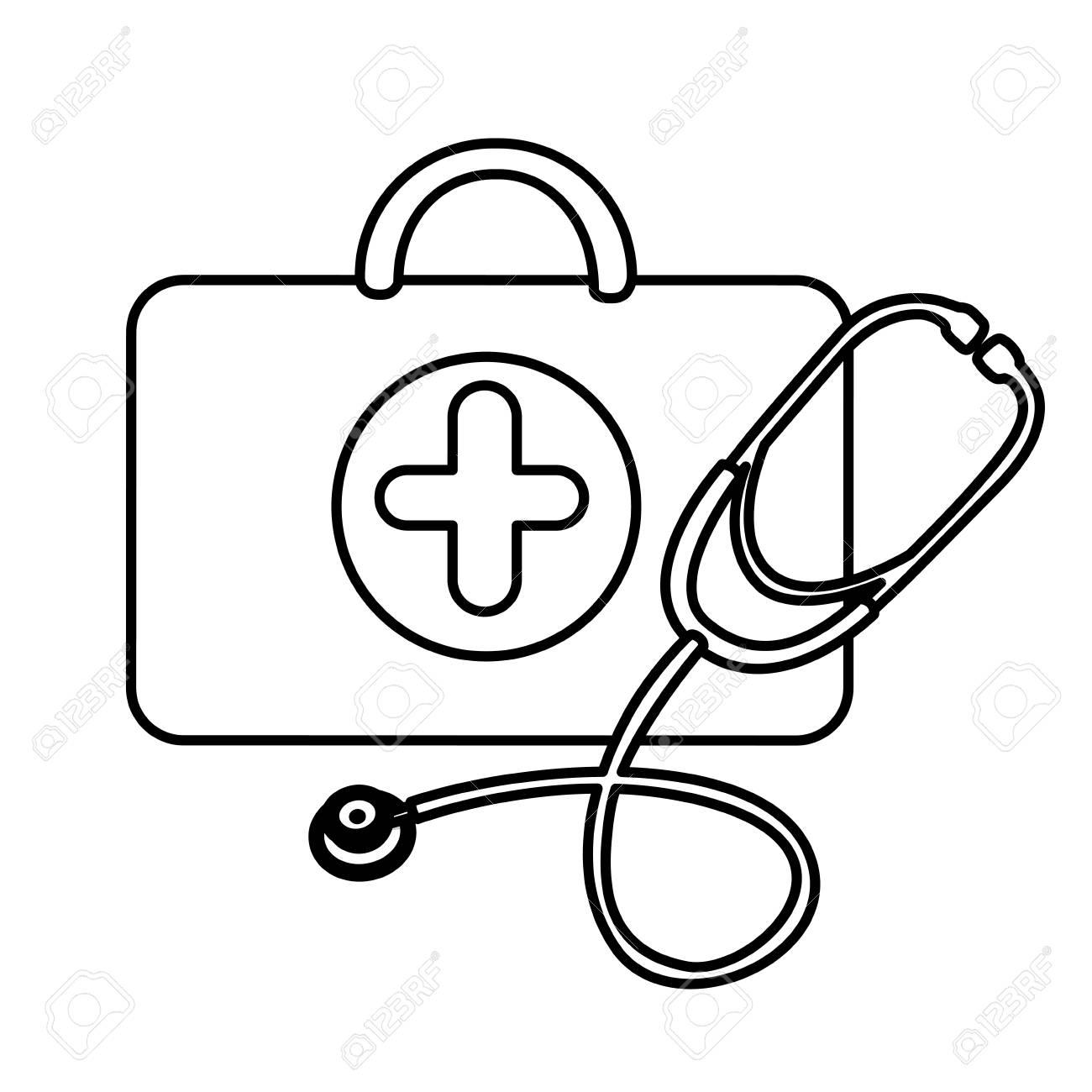 Dessin Stéthoscope santé de valise silhouette avec icône de stéthoscope, dessin