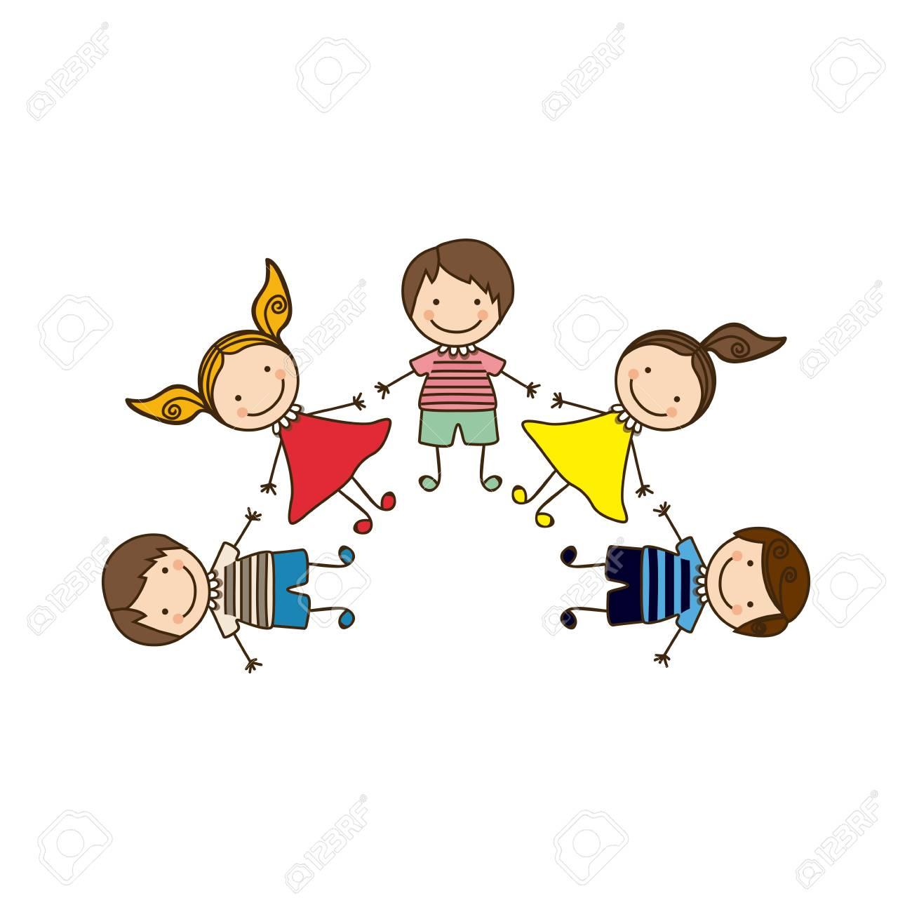 Colorido Conjunto Feliz Niños De Dibujos Animados Tomados De La Mano